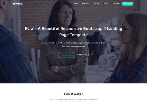 Evral - Responsive Landing Page Template
