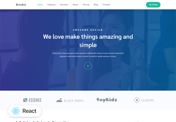 Hiric - React Landing Page Template