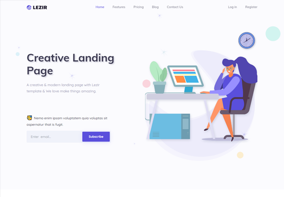 Lezir - Landing Page Template