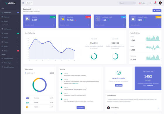 Veltrix Admin & Dashboard Template