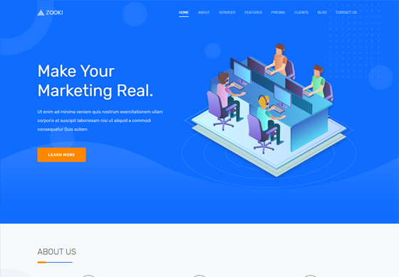 Zooki - Landing Page Template
